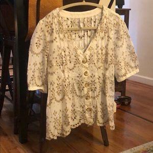 Button Up Blouse (White & Cream w/ Tan embroidery)